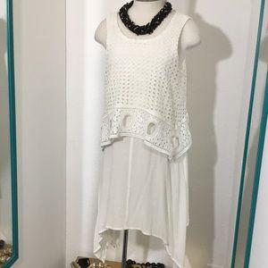ASYMMETRIC EYELET DRESS